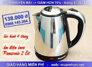 Ấm inox điện đun nước sôi siêu nhanh panasonic: 138. 000đ