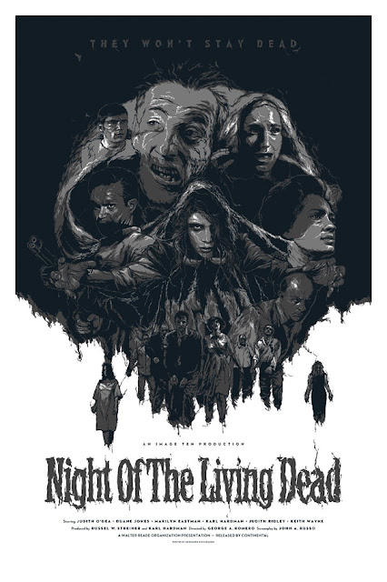 George A. Romero's Night of the Living Dead Silver Glow in the Dark Variant Screen Print by Grzegorz Domaradzki
