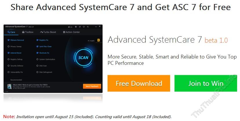 Miễn phí 6 tháng bản quyền Advanced SystemCare PRO 7
