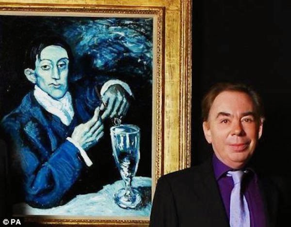 Andrew Lloyd-Webber in front of Pablo Picasso The Absinthe Drinker