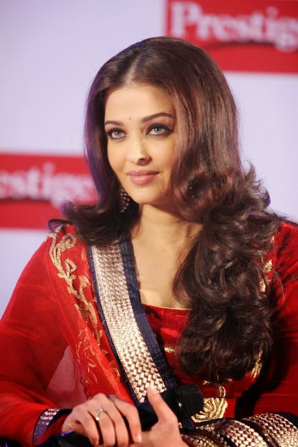 Aishwarya Rai in Red Long Frock and Abhishek Bachchan Prestige Brand Ambassadors
