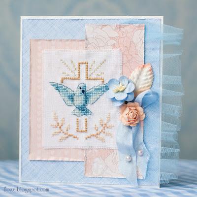 открытка крещение мальчика, открытка на заказ киев, скрапбукинг, вышивка голубь и крест, вышивка с золотой нитью