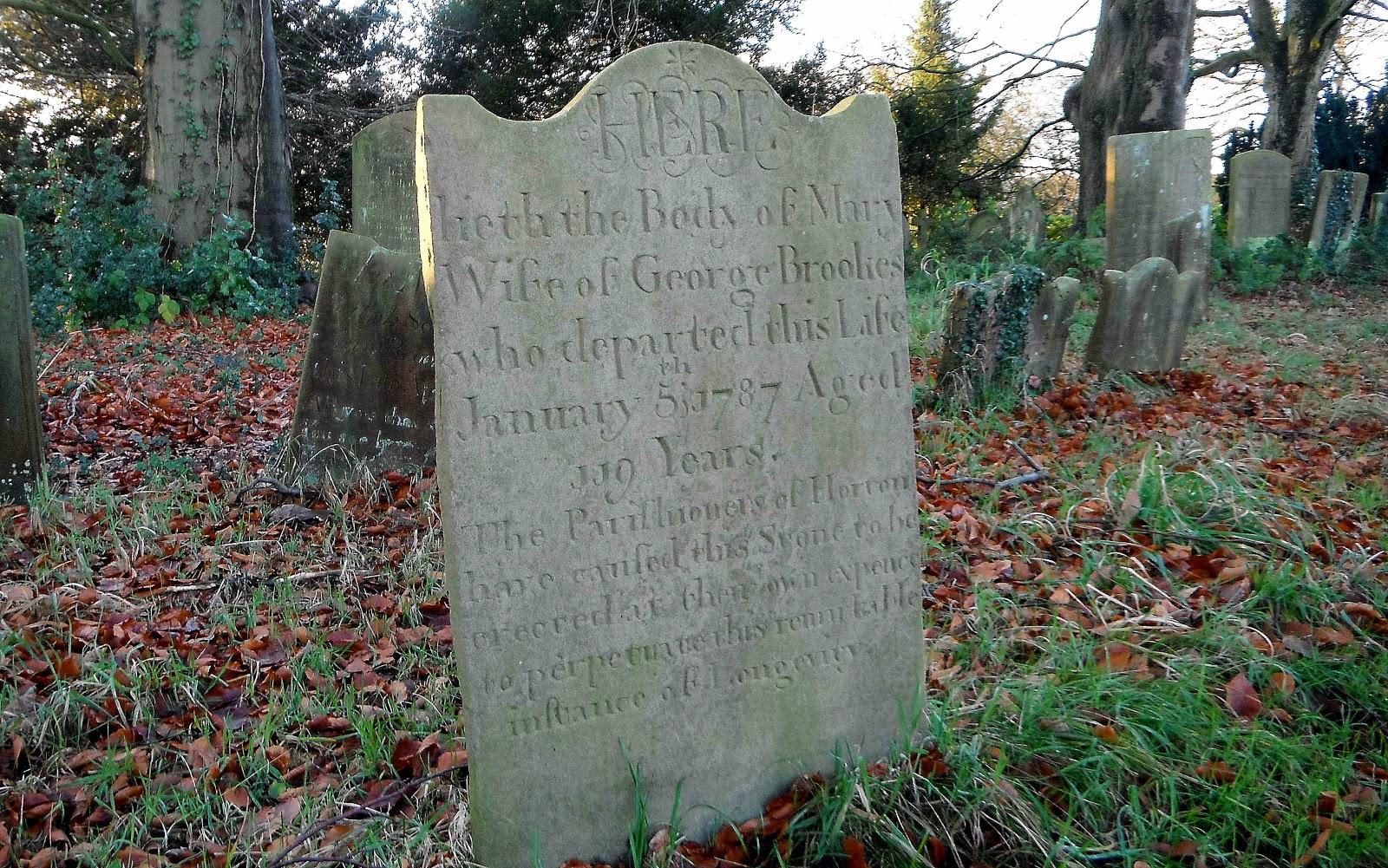 Mary Brookes' gravestone, Horton