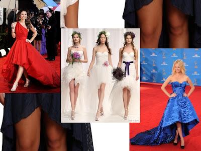 Comprimento assimétrico ou irregular em saias, vestidos e blusas.