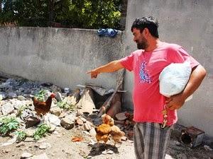Dono da galinha disse que ficou surpreso. (Foto: Raimundo Mascarenhas/Site Calila Noticias)