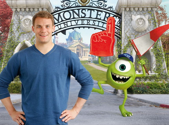 Manuel Neuer appears in a promotional poster for animated film 'Monsters University'