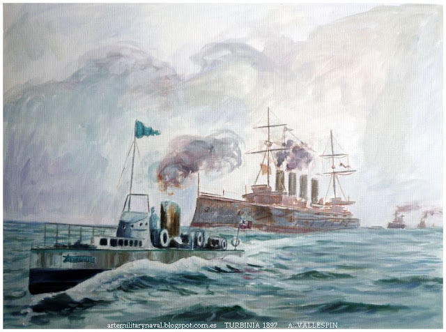 Pintura del primer barco propulsado por turbina de vapor