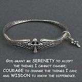 Silver Serenity Prayer Bracelet with Dangle Cross and Angel Wings