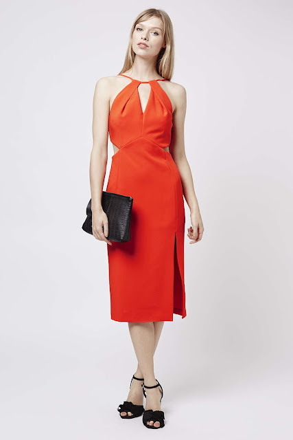red halter neck dress, red midi dress, red cut out dress,