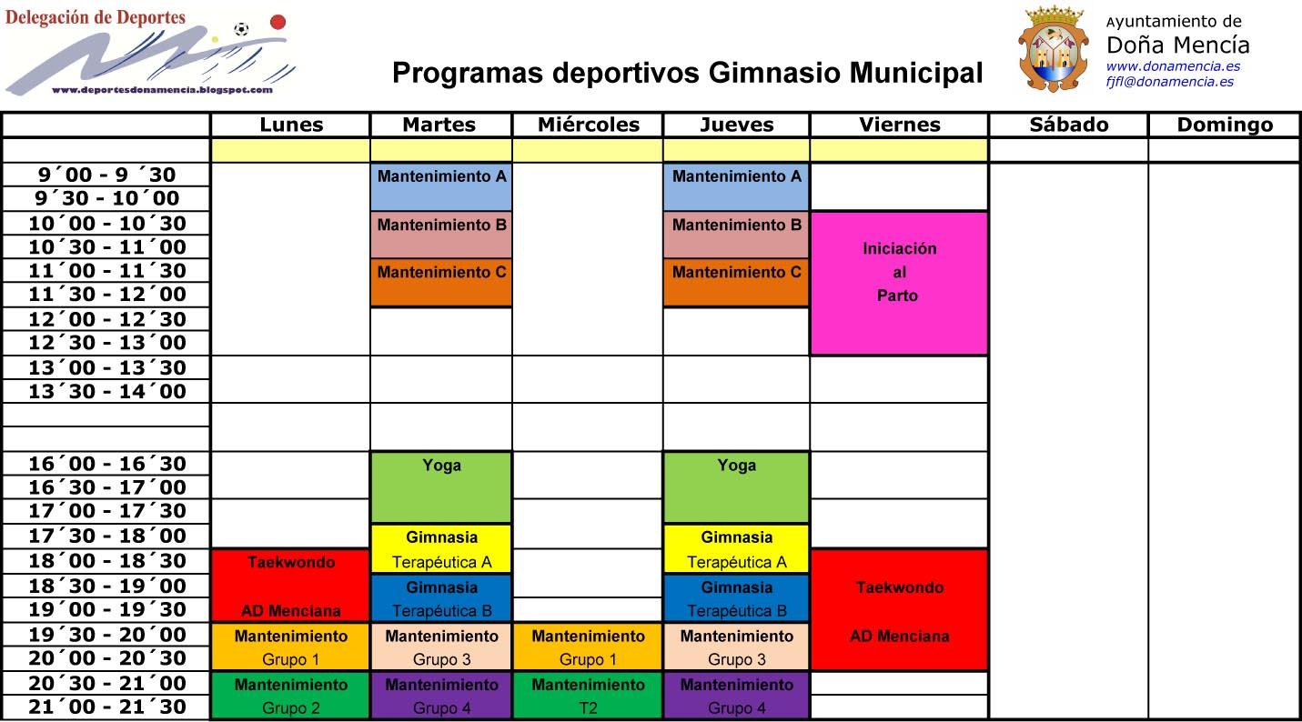 Deportes do a menc a septiembre 2012 for Horario gimnasio