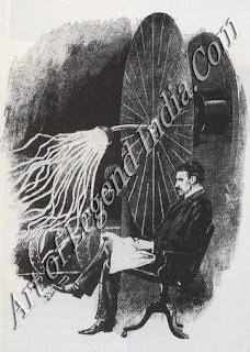 Tesla's electrical machine, The Croatian scientist Nikola Tesla developed alternating current machinery in America, competing with Edison's direct current system. In 1888 he was conducting experiments which three years later led to the Tesla coil still used today in radios and televisions.