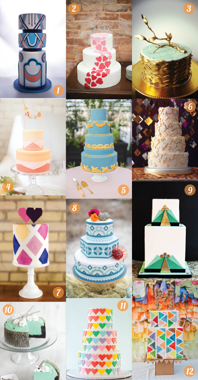cake; wedding cake; birthday cake; 12 cakes; colorful