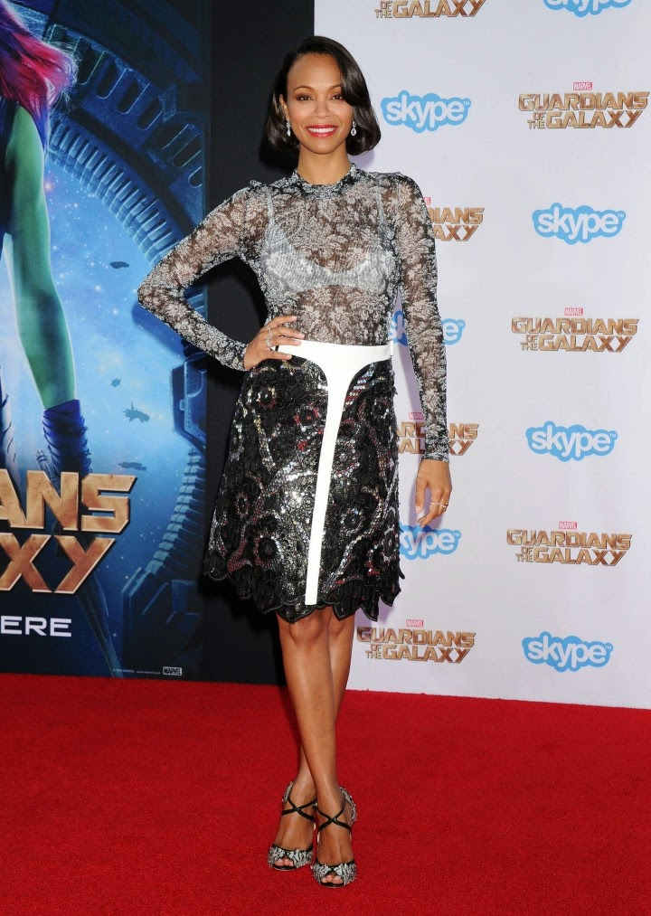 Zoe Saldana wears Louis Vuitton for the 'Guardians of the Galaxy' LA premiere