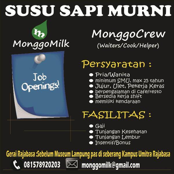 Lowongan Kerja Monggo Milk Lampung