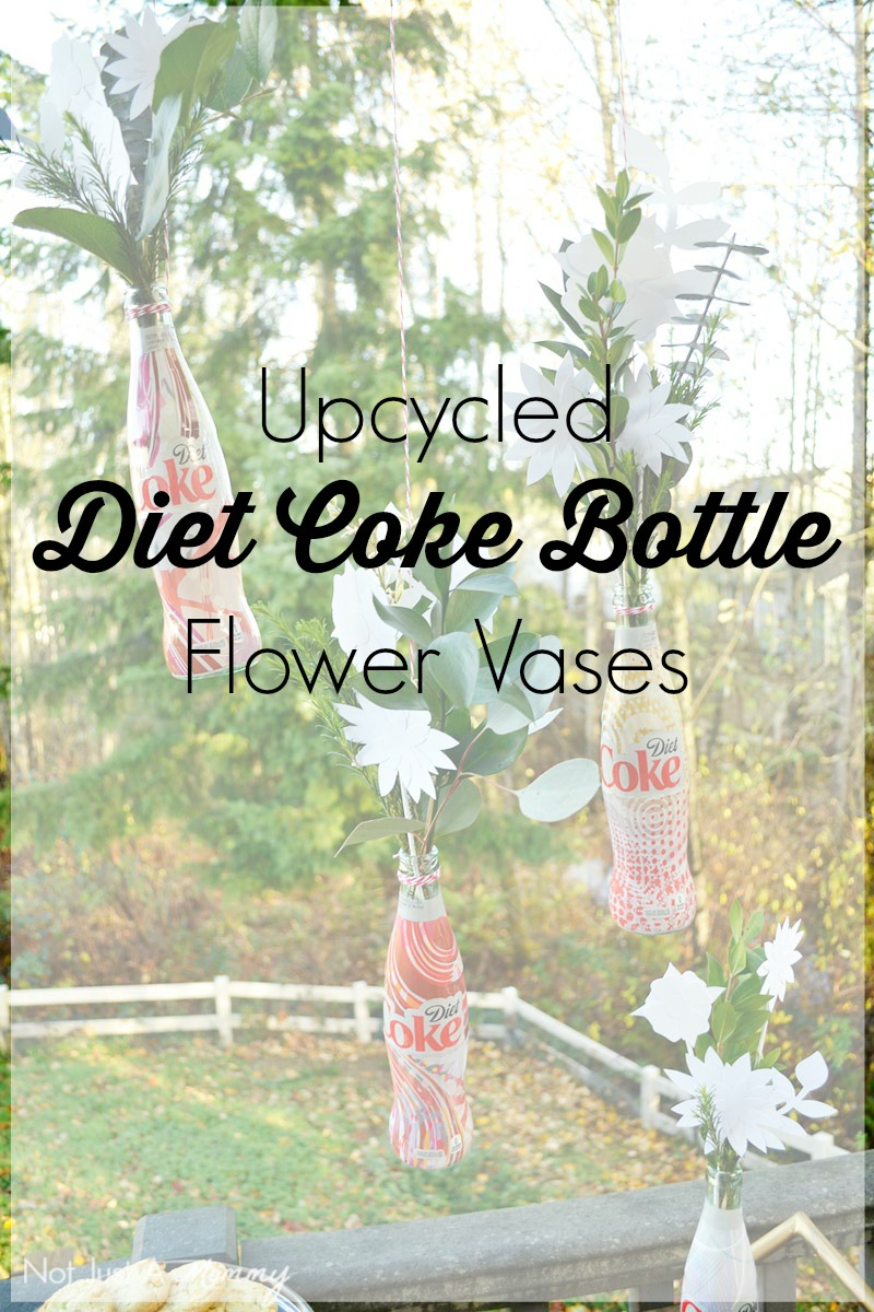 Turn your uniquely designed Diet Coke bottles into paper flower vases