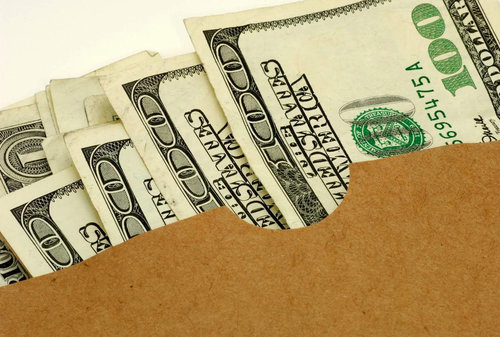 Cash in paper bag