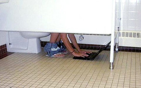 laptop bathroom