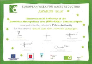 Guardonats amb el Premi Europeu de la Prevenció de Residus (Edició 2010)