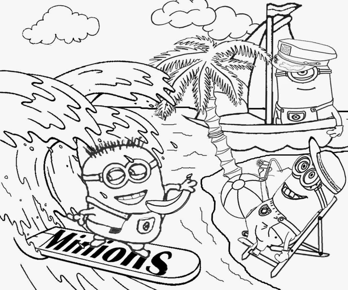 Minion maid coloring pages - Summertime Break Sail Boating Surfing Water Sports Beach Wear Minions Love Bananas Coloring Sheets