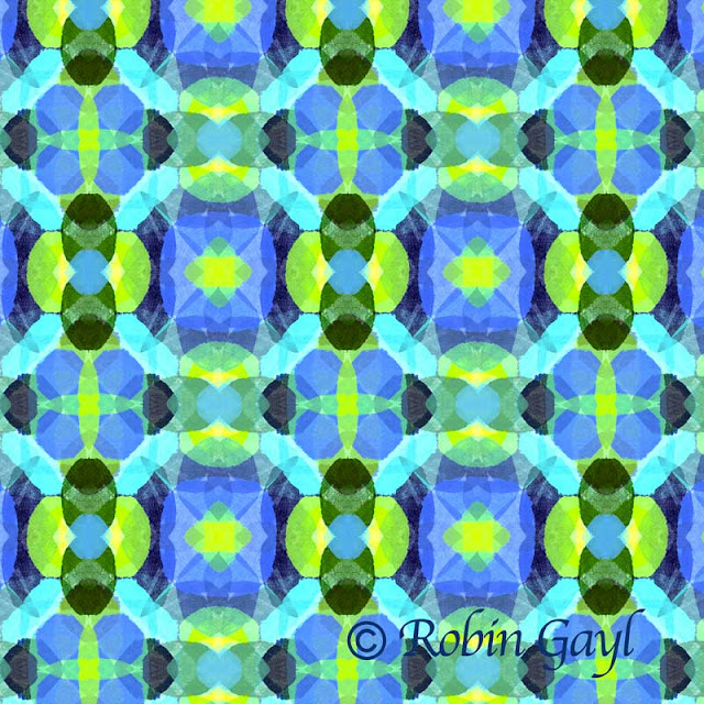 Blue, Yellow and Green Abstract Cross Pattern Made from Gelliprint
