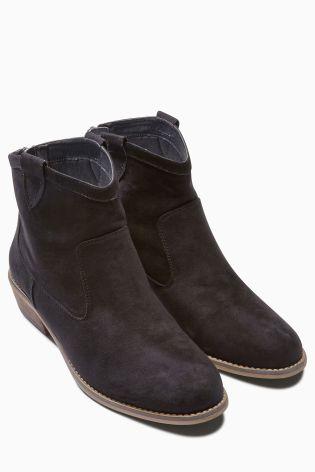 Next Black Zip Detail Boots