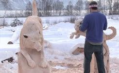 Siberian Husky Bench Carved