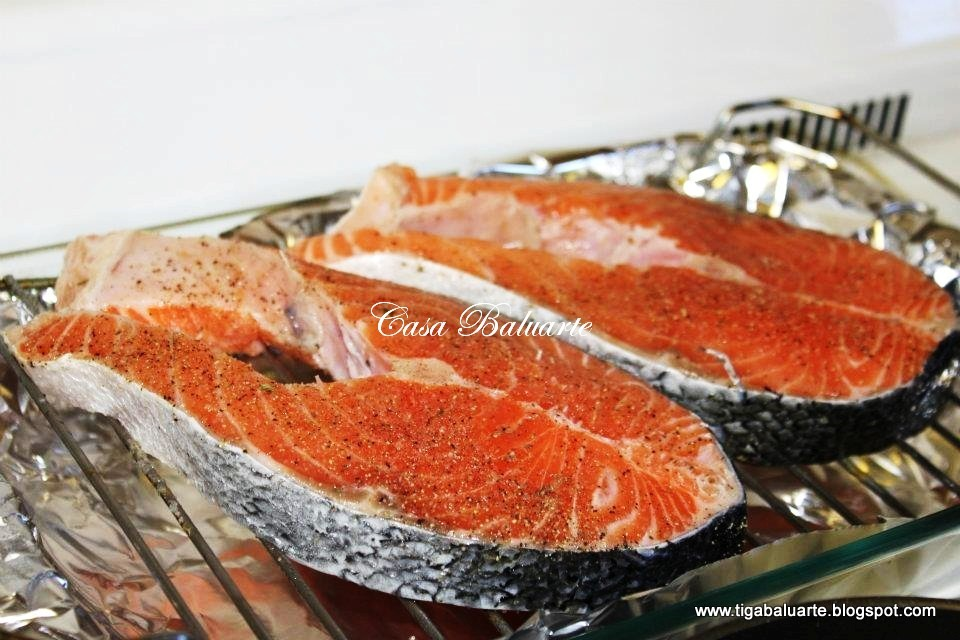 Casa baluarte filipino recipes teriyaki salmon recipe turn oven to 425 degrees season salmon with garlic salt ground pepper and brush with butter place seasoned salmon in baking rack and place in the center ccuart Image collections