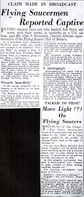Flying Saucermen Reported Captive - Wellington Post 10-19-1954