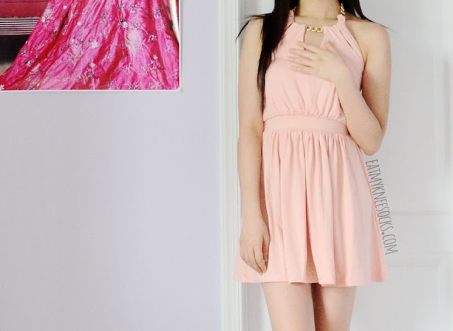 More photos of the pink halterneck chain-detailed dress from WalkTrendy, reviewed on Eat My Knee Socks.