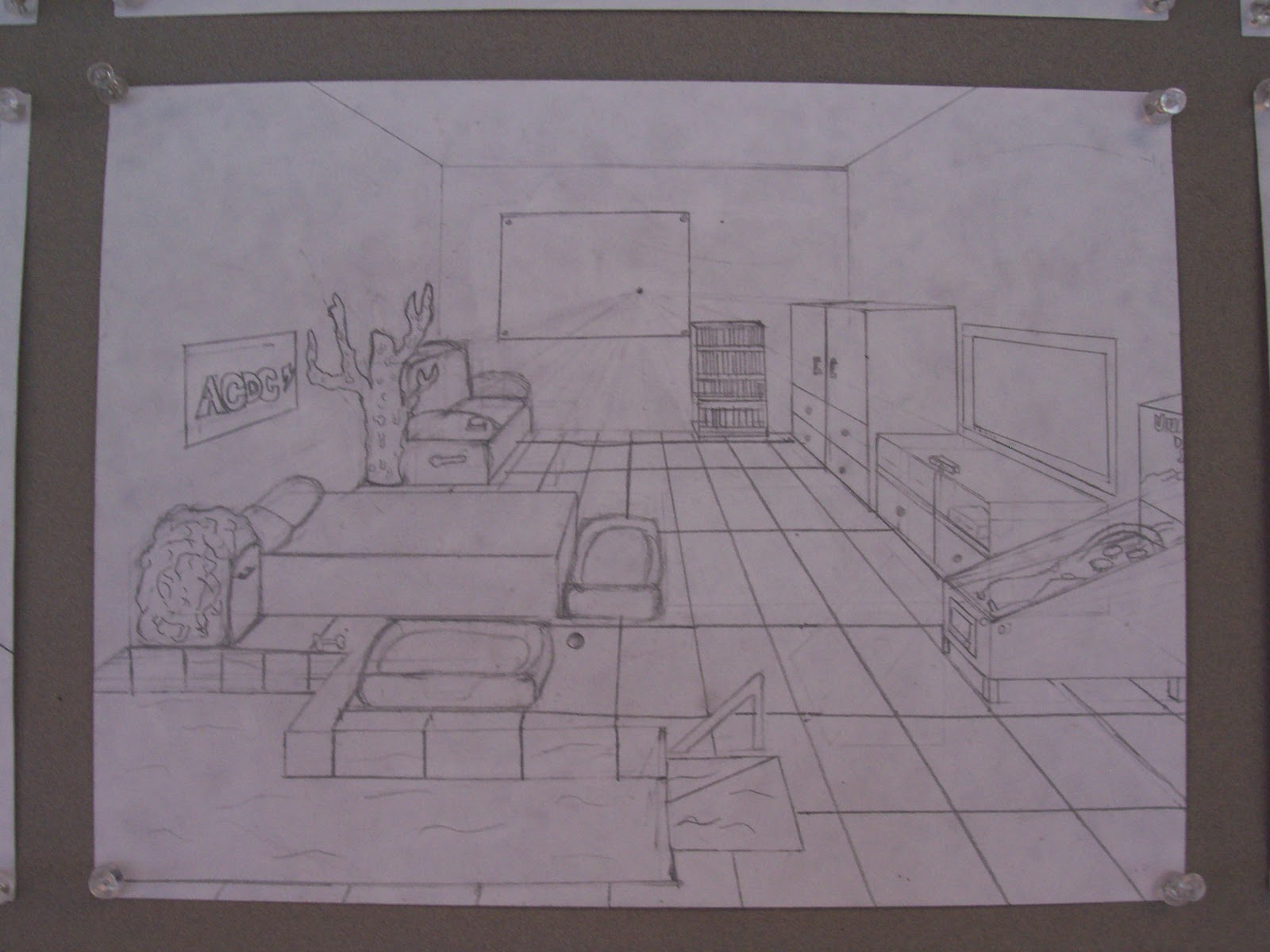 One point perspective dream bedroom -  Add Detail To Their Rooms Such As Pillows And Blankets On Their Beds Books And Lamps On Their Nightstands Or Whatever Works For Their Dream Room