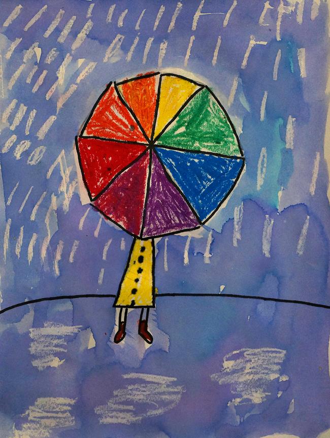1st Grade Color Wheel Umbrellas Artwork By Rebekah