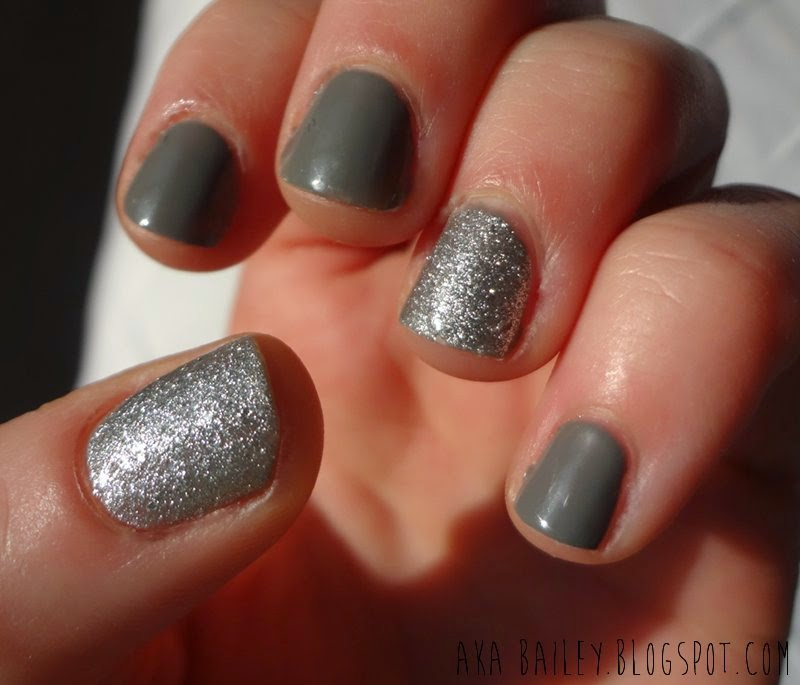 Revlon Diamond Texture silver sparkle nail polish as accent nails with China Glaze Recycle nail polish