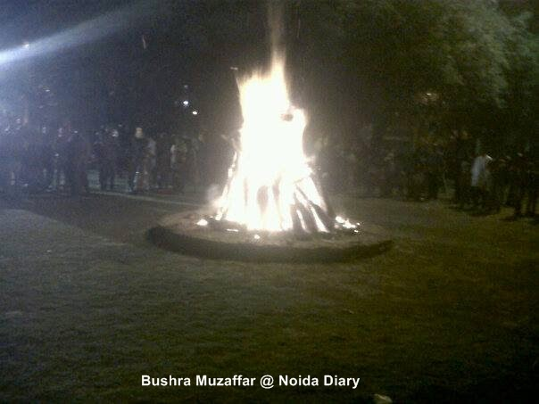 Holika Dahan in Sector Park in Noida