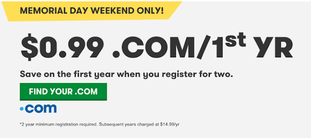ten mien .com 0.99$ từ godaddy