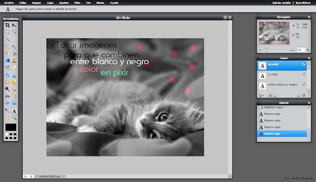 Editar imagenes para que combinen entre blanco y negro y color - pixlr