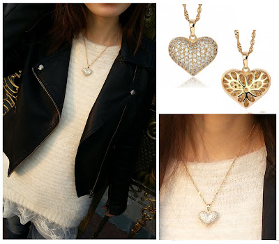 Paved Rhinestone Heart Pendant Necklace