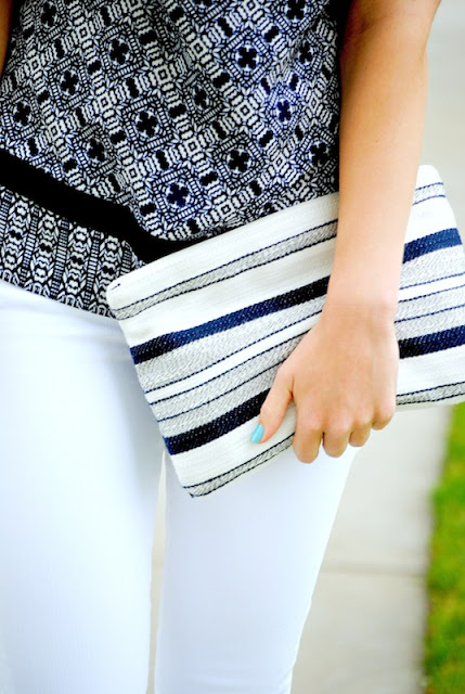 striped LOFT clutch
