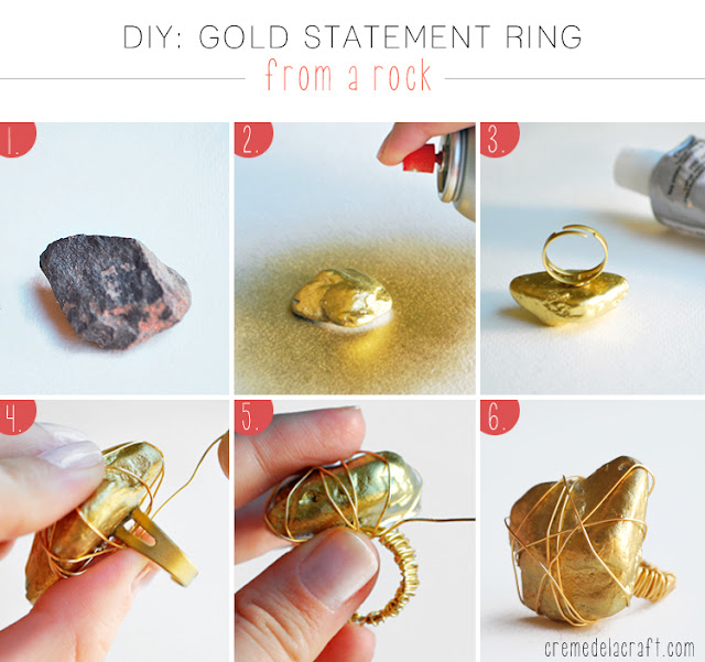 DIY Gold Statement Ring From A Rock