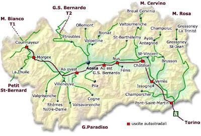 Cartina Politica della Valle d'Aosta