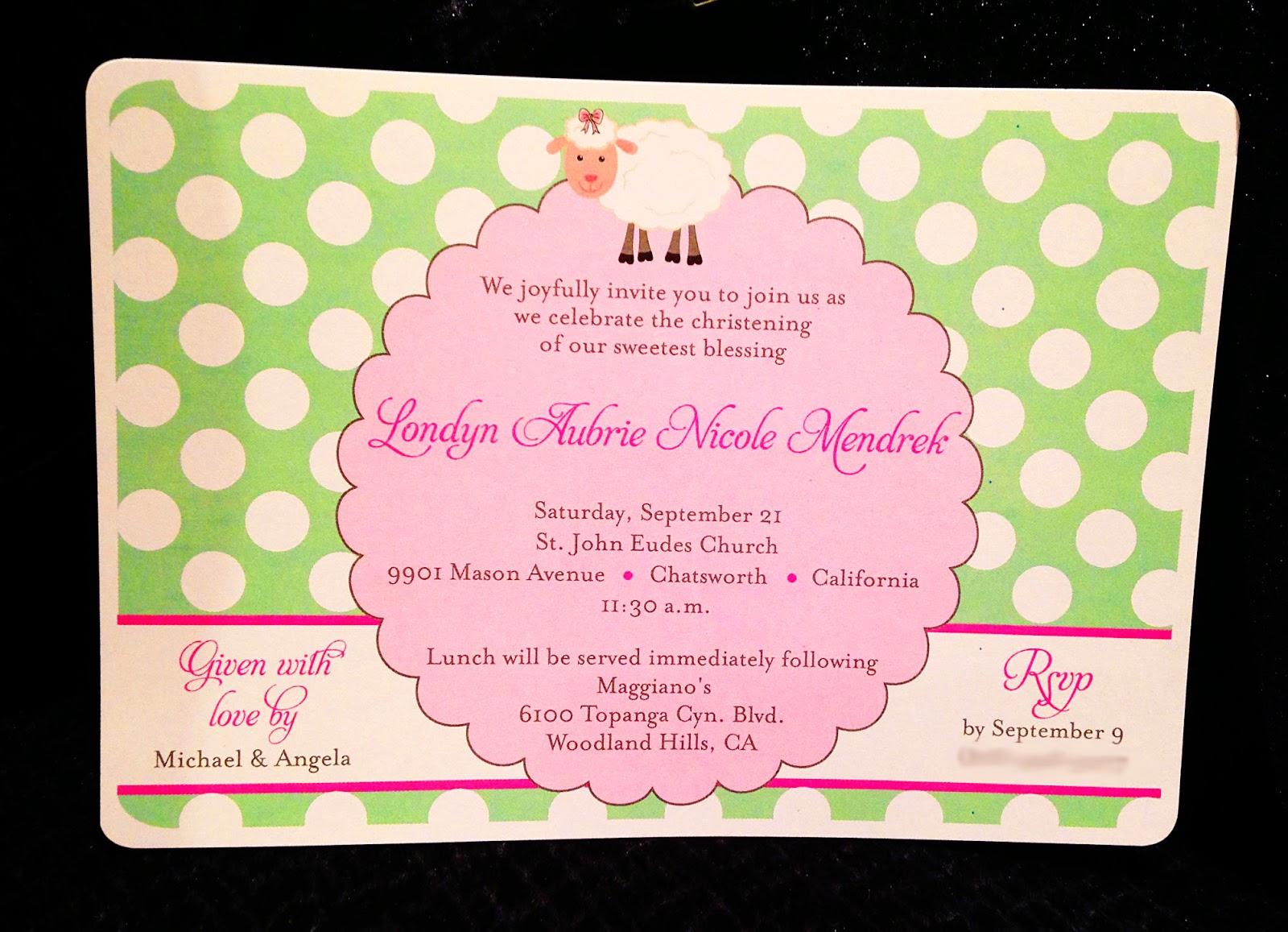 2 Hearts B 1 Designs: {Design} Little Lamb Baby Christening Invitation