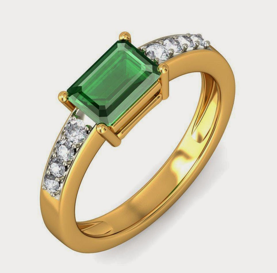 Men Green Stone Diamond Yellow Gold Engagement Ring Design