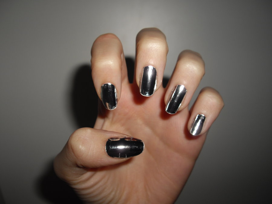 Fashionable Black And Silver Nails Design Nail Picture Art