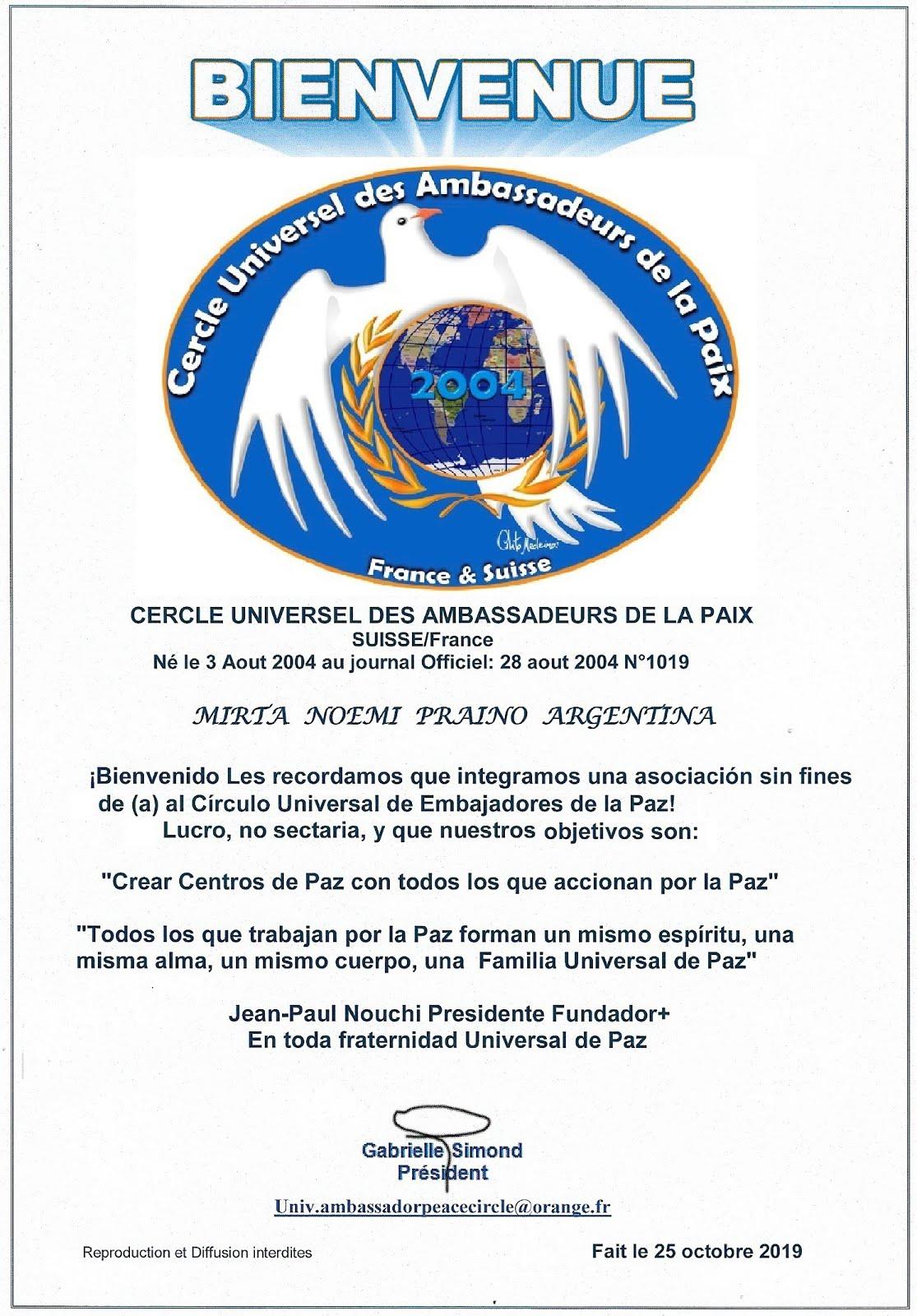 Mirta Praino  oficialmente el título de Embajadora Universal de la Paz - Argentina