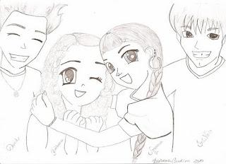 Desenho - mangá de amigos