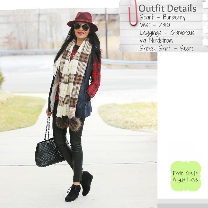 Burberry Plaid Scarf, Plaid Blanket Scarf, Zara Fur Vest, Red Wool Fedora Hat, Forever 21 Red Fedora