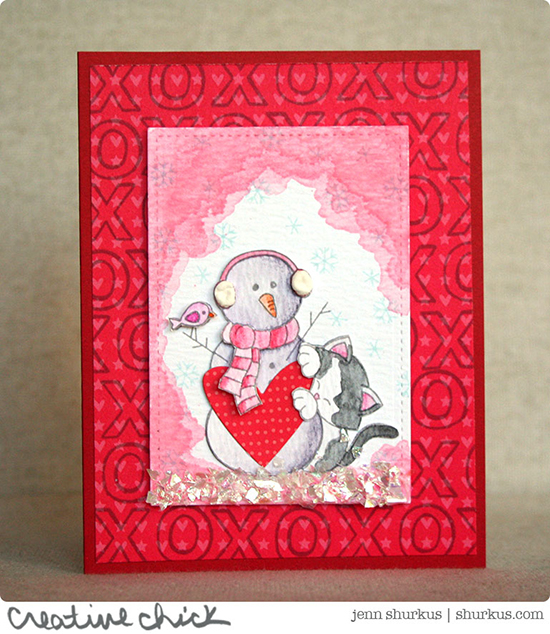 Cat and Snowman Valentine by Jenn Shurkus | Stamps by Newton's Nook Designs