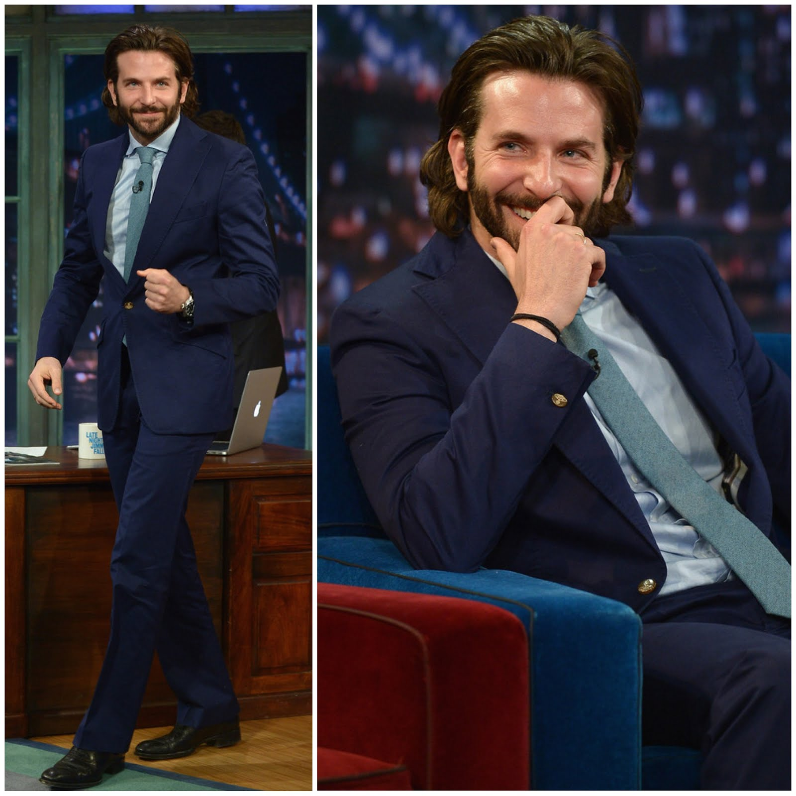 00O00 Menswear Blog: Bradley Cooper in Spring Summer 2013 Navy slim fit suit from Vivienne Westwood featuring notched lapels and a single button front fastening - Late Night with Jimmy Fallon May 2013