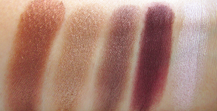 Swatches: I Heart Chocolate Eyeshadow Palette - Smooth Criminal - Chocolate Love - You Need More - What a Way to Go - Endorphins Ready!