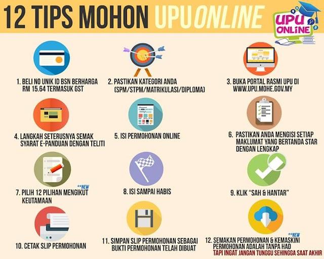 12 TIPS PERMOHONAN UPU ONLINE!