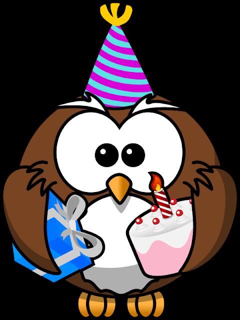 Desenho colorido Coruja de Aniversário com fundo transparente